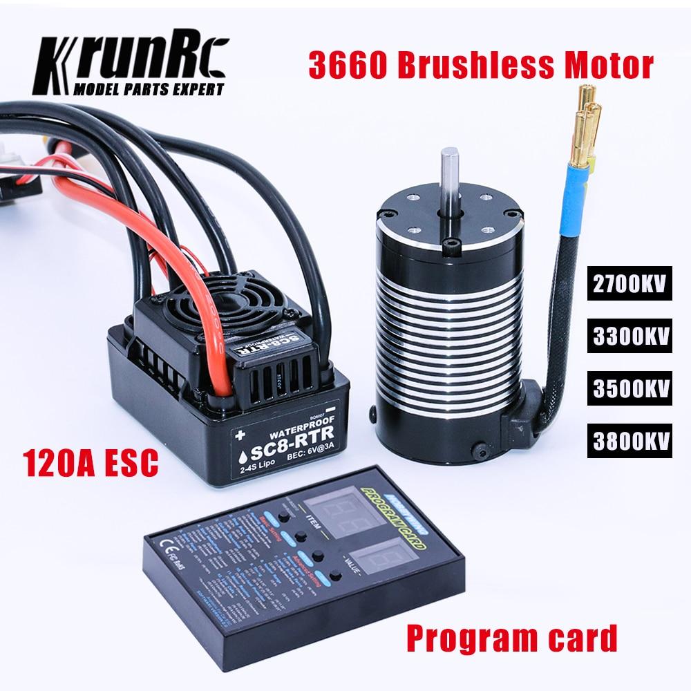 Hobbywing SC8 RTR 120A Brushless ESC + 3660 2700KV/3300KV/3500KV/3800kv เซนเซอร์มอเตอร์ + โปรแกรม cardfor 1/10 RC รถ-ใน ชิ้นส่วนและอุปกรณ์เสริม จาก ของเล่นและงานอดิเรก บน   1