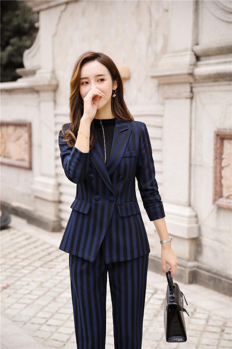 Women's suit 2019 autumn new casual fashion temperament slim stripes single buckle small suit trousers two-piece 15
