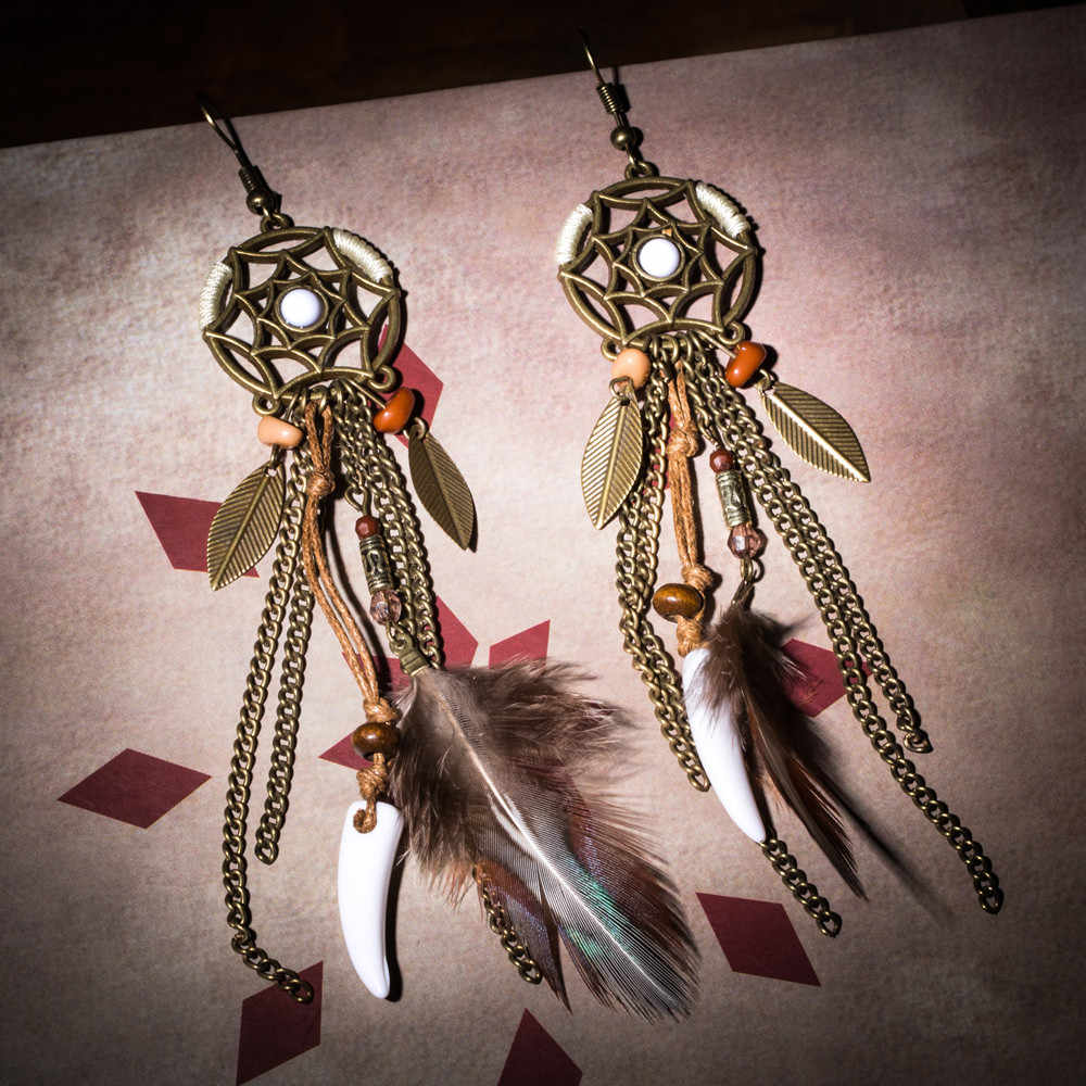 Variety Bohemian long brown feather earrings for women Fashion Ethnic dangle earing 2019 New Trendy Boho Ear Jewelry Accessories