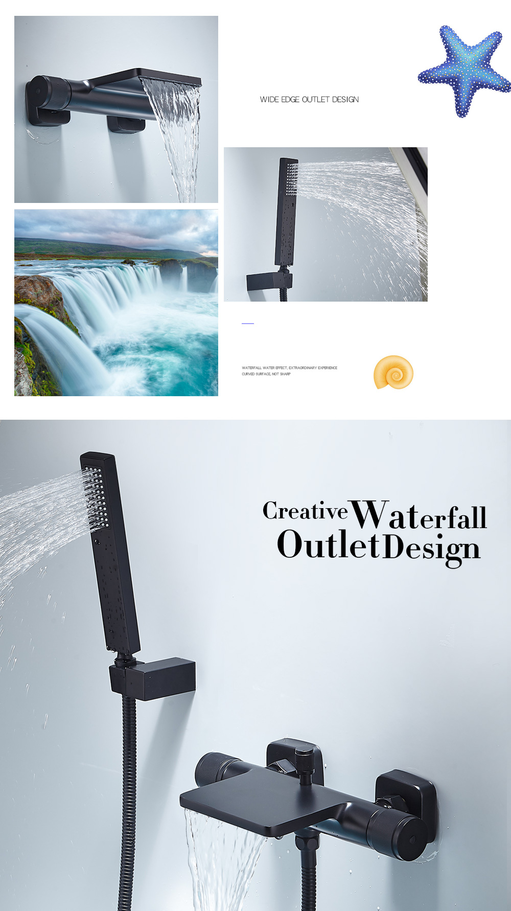 Hee5a8316990b469e826c542829196316O Bathtub Shower Faucet Mixer Solid Brass Black Wall Mount Shower Faucet With Hand Shower Bathroom Waterfall Bathub Faucet WB1620