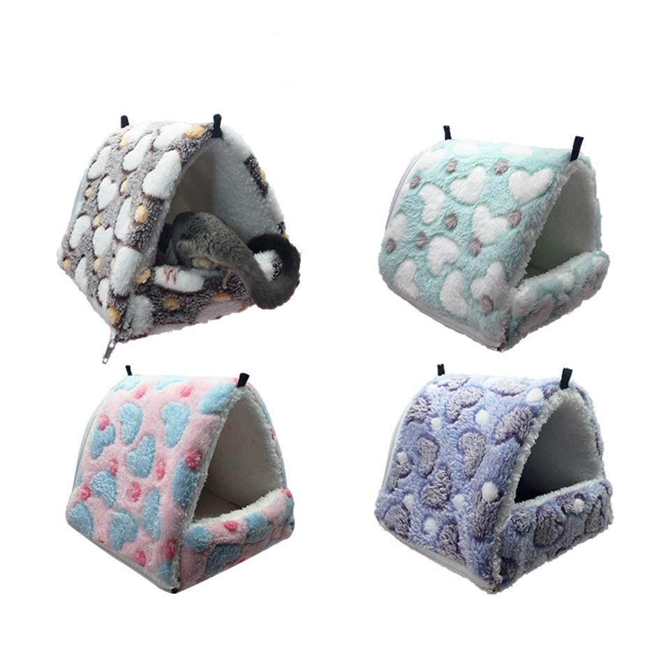 Removable Small Animals Pet Hanging Cages Hamster Squirrel Sugar Glider Cotton Comfortable Hammock Triangle Nest Pets Supplies