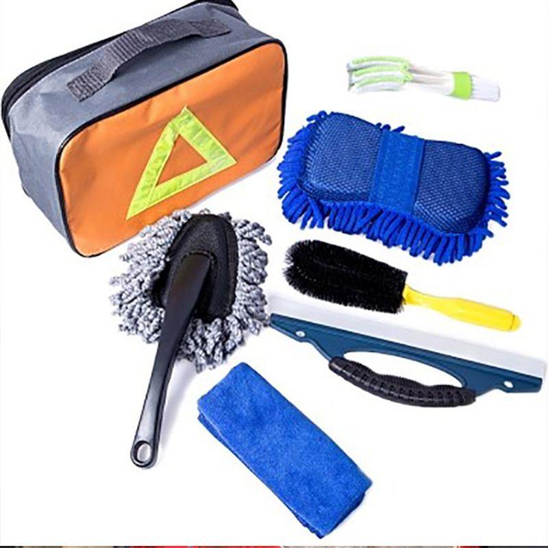 7 Pcs/Set Car Interior Exterior Washing Cleaning Tool Kit Sponge Brush Towel Bag