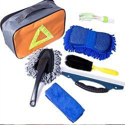 7 sztuk/zestaw zestaw do mycia wnętrza samochodu zewnętrzne urządzenia do oczyszczania gąbka szczotka torba na ręczniki w Zestaw składanego bocznego lusterka od Samochody i motocykle na