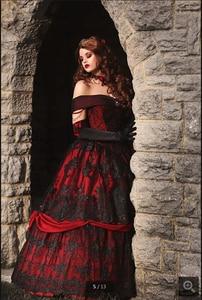 Image 4 - 2020 Robe de mariage vintage noir rouge Robe de bal Robe de mariée gothique hors de lépaule dentelle appliques perlées robes de mariée