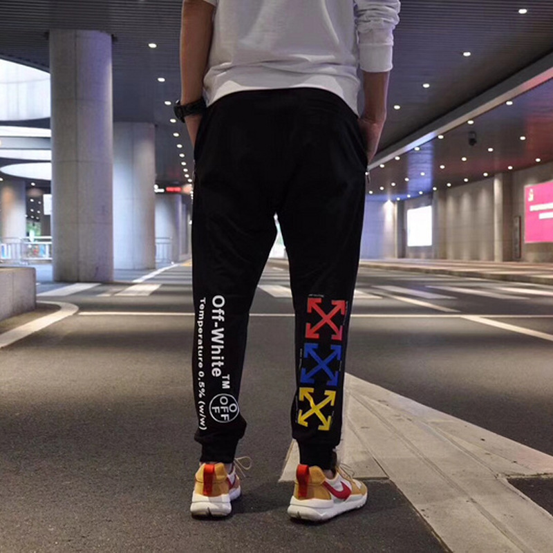 Europe And America Popular Brand Off 18ss Candy-Colored Arrowhead Loose Casual Ankle Banded Pants Men And Women Couples Athletic