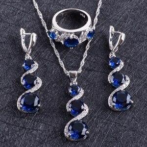 Image 2 - Blue Zircon Silver 925 งานแต่งงานชุดเครื่องประดับชุดจี้สร้อยคอแหวนกำไลต่างหูหินชุดของขวัญกล่อง