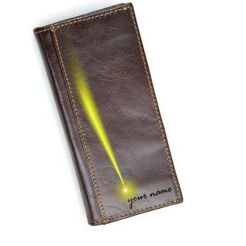 genuine leather men long zipper wallet free name logo engraving customized card holder coin bag RFID