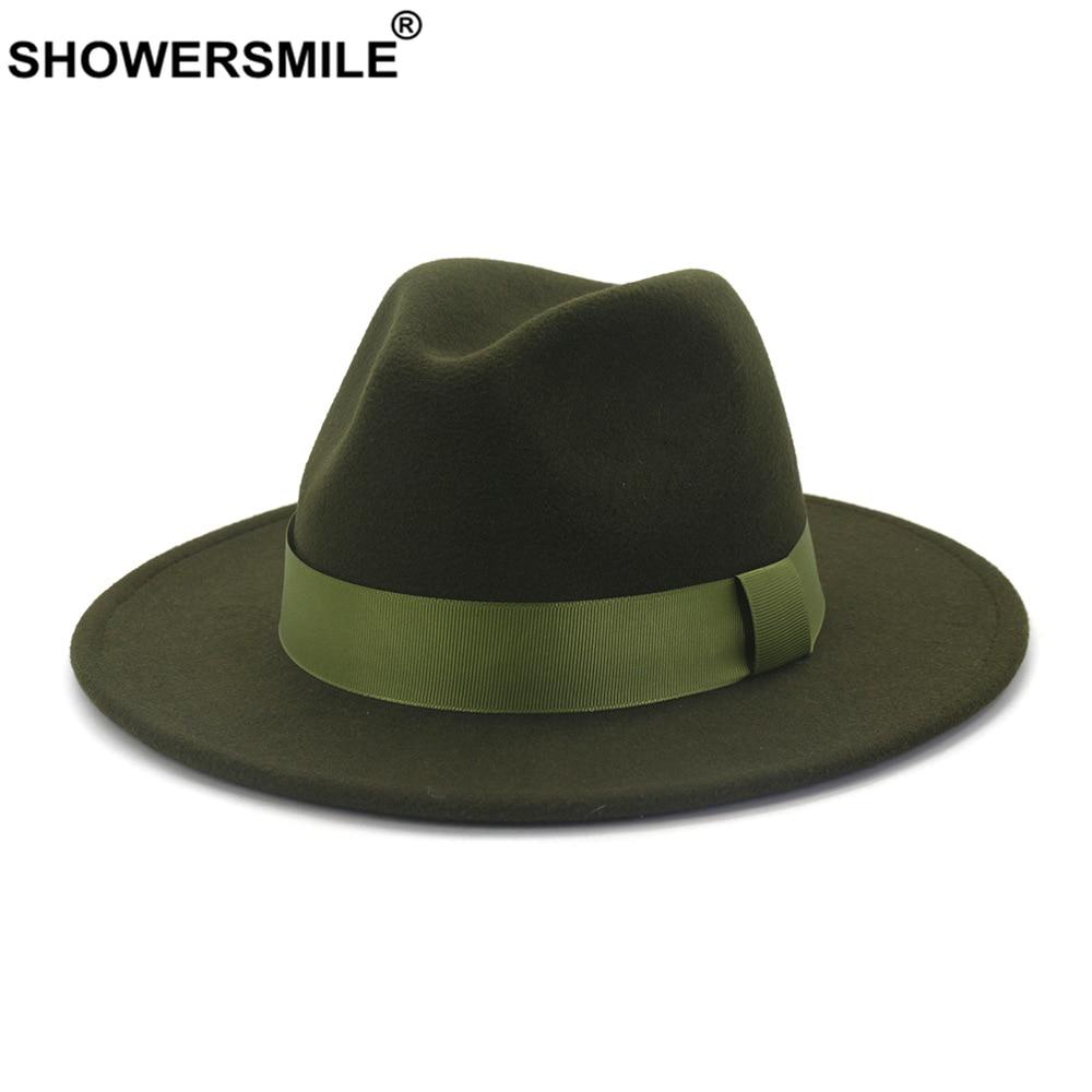 SHOWERSMILE Army Green Wool Felt Jazz Fedora Hats Men Women Wide Brim Sombrero British Style Trilby Formal Panama Cap Dress Hat