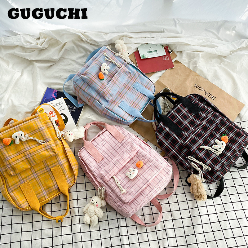 Backpack Women 2020 New Hot Fashion Plaid Shoulder Bags Casual Preppy Style Cute Canvas School Backpacks For Teenager Girls