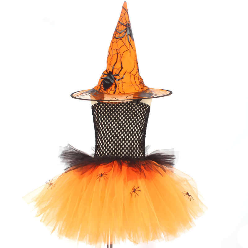 Spider Girls Witch Tutu Dress with Hat Black Purple Children Halloween Carnival Cosplay Witch Costume Kids Party Fancy Dresses (10)