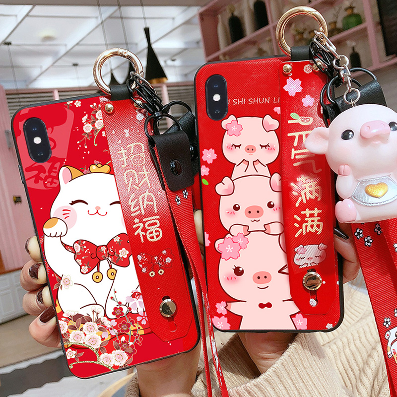 For <font><b>iPhone</b></font> 11 Pro Max Cute Lucky <font><b>Cat</b></font> Wrist strap back <font><b>Case</b></font> cover For <font><b>iPhone</b></font> X XS Max XR 6 7 8plus Maneki Neko Shell+tpy +Straps image