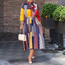 цена на Office Ladies Work Bow Collar Print A-Line Color Block Dress Casual Fit And Flare Pleated Dress 2019 Autumn Winter Women Fashion