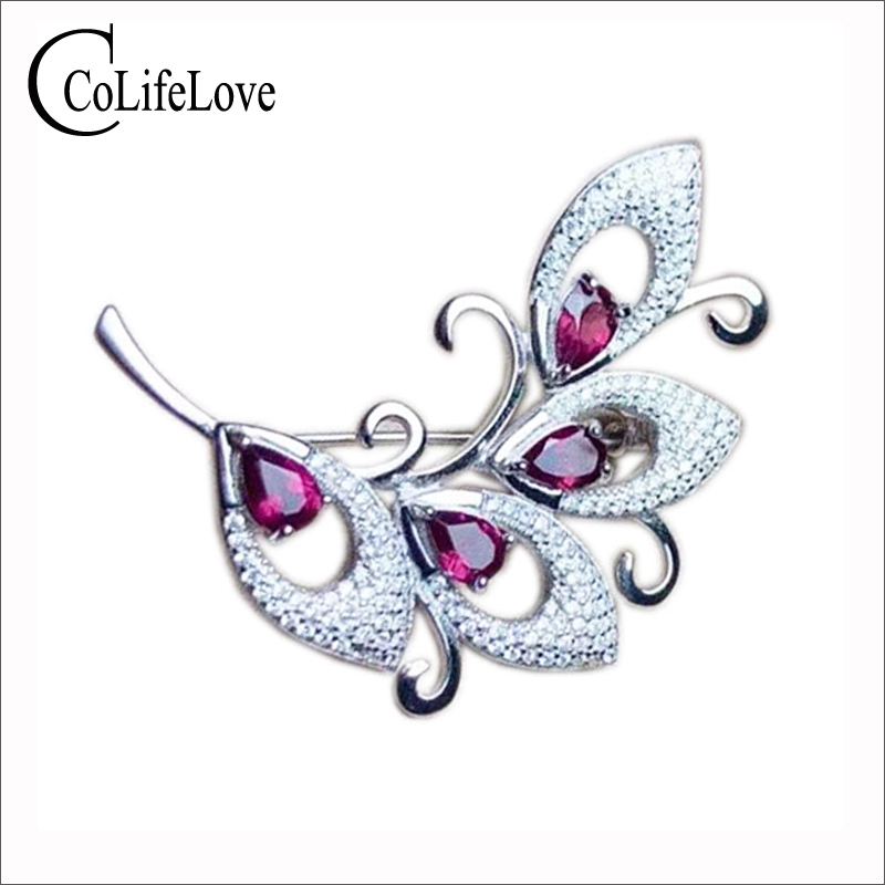 CoLife Jewelry 925 Silver Brooch With Gemstone 4 Pieces Natural Pyrope Brooch For Party Sterling Silver Pyrope Jewelry