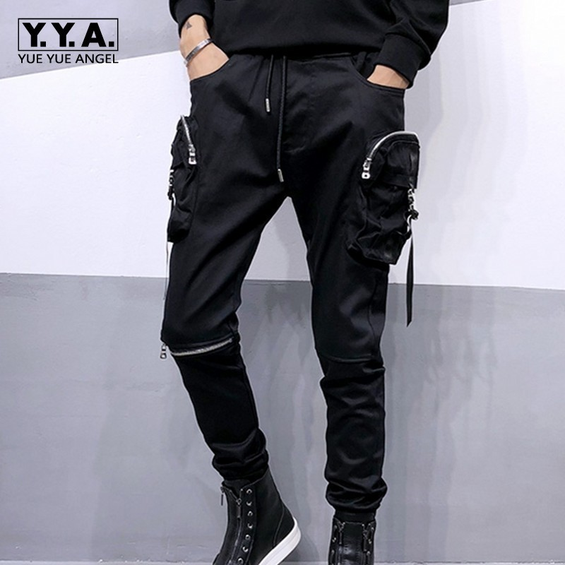 2020 New Trend Mens Black Slim Korean Harem Pants Size S-3XL Comfort Hip Hop Trousers For Male Casual Zipper Multi-Pocket Pants