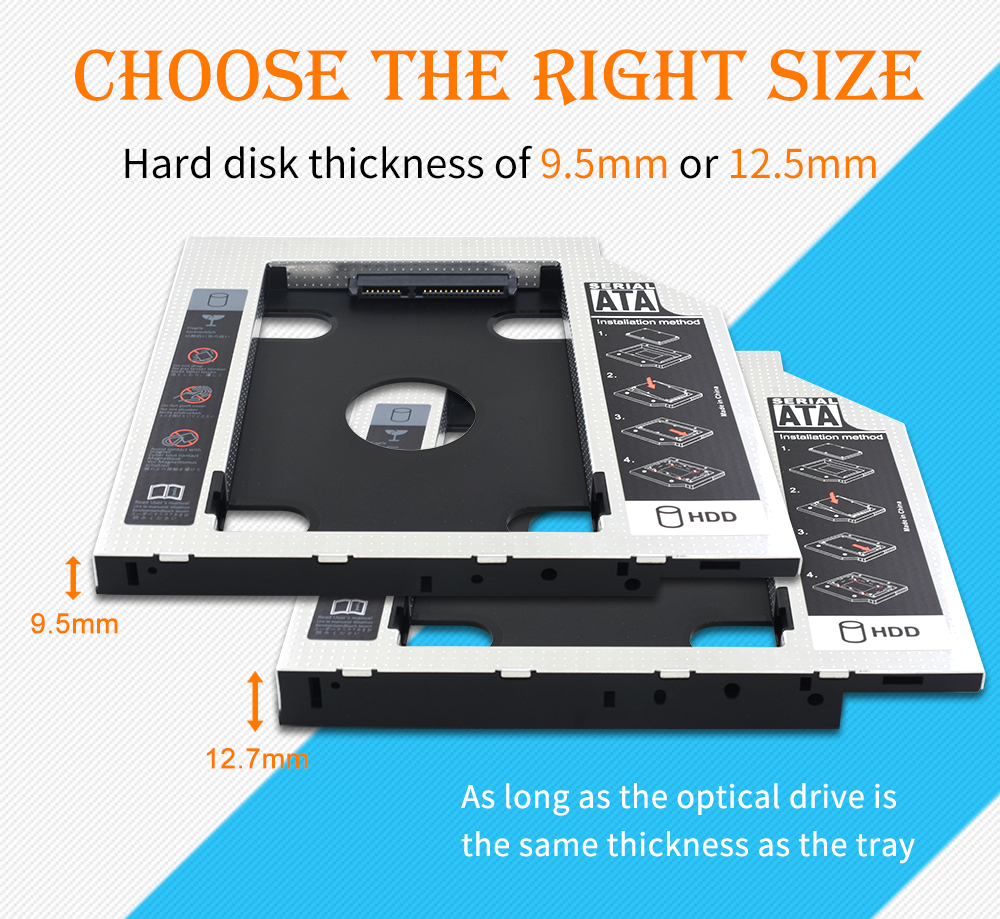 TISHRIC Universal Aluminum 2nd HDD Caddy 9.5mm/12.7mm SATA 3.0 Optibay SSD 2.5 Inch HDD Case/Box Adapter For Laptop DVD-ROM ODD