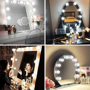 Image 5 - 5V USB Hollywood Spiegel Licht Mit Touch Dimmer Make Up Tisch Spiegel Led Licht Schlafzimmer Decor 2/6/10/14 Led lampen Eitelkeit licht