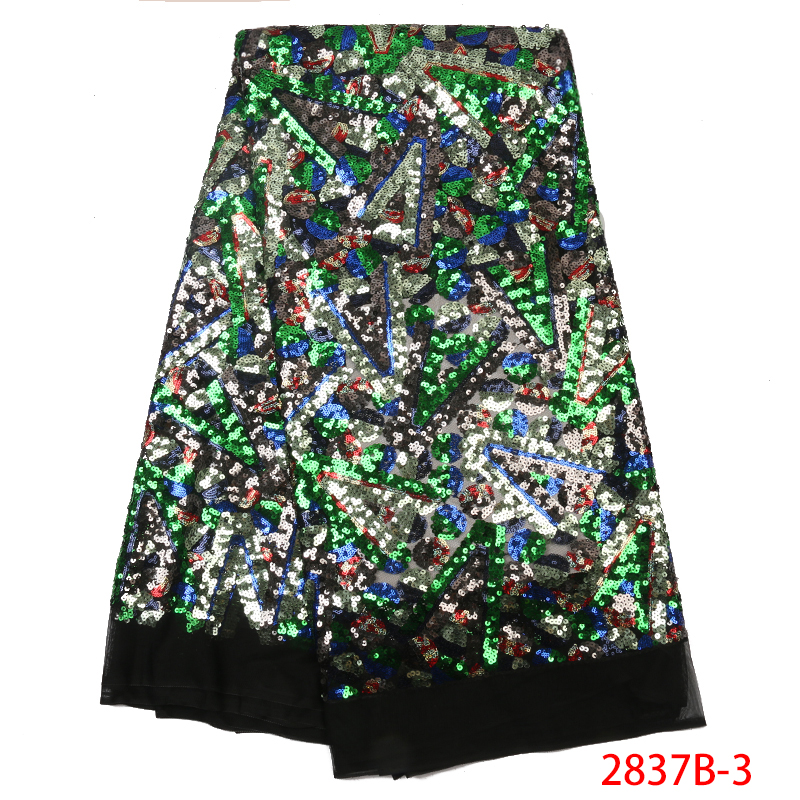 2019 Latest French Nigerian Sequins Laces Fabrics African Lace Nigerian Tulle Lace Fabric With Sequence For Wedding KS2837B-3