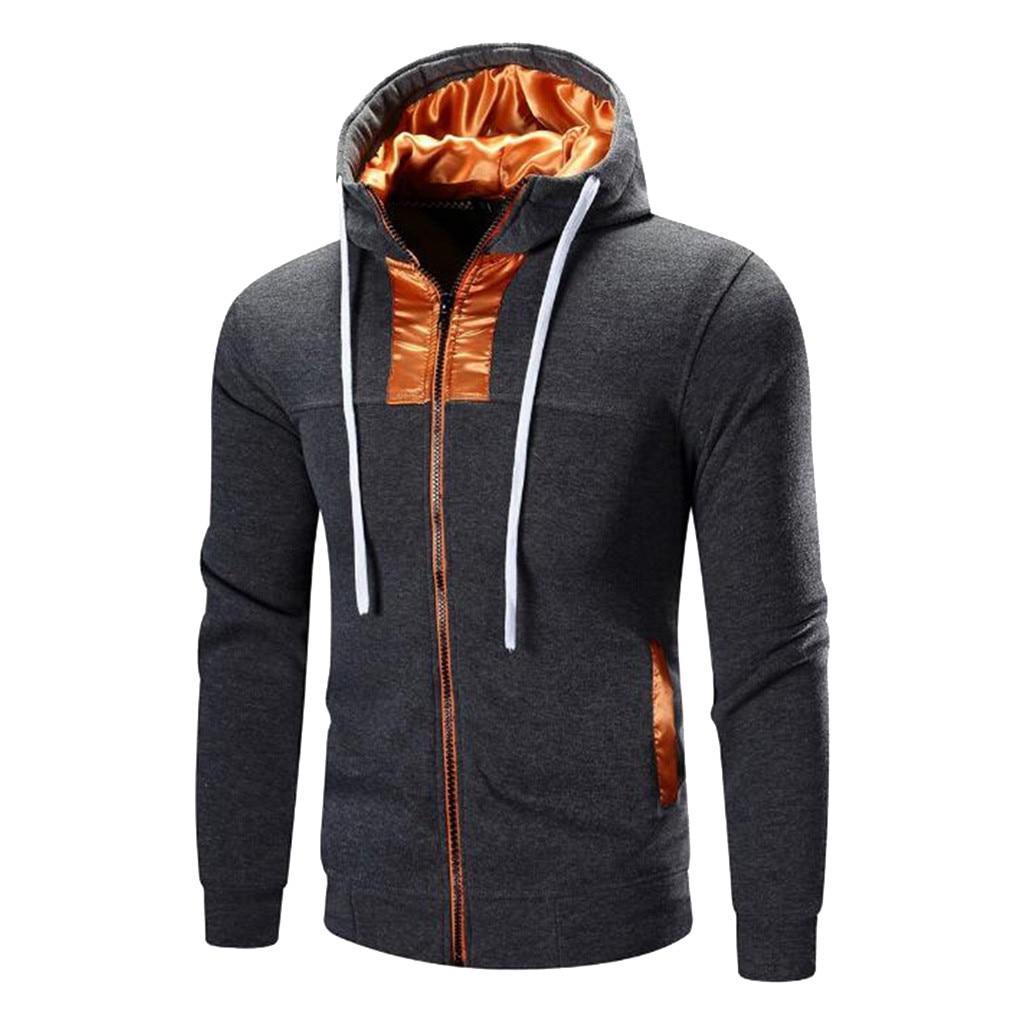 Men's Thicken Clothes Winter Men Autumn Long Sleeve Patchwork Hoodie Hooded Sweatshirt Top Tee Outwear Blouse