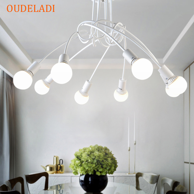 American wrought iron LED Ceiling Lights living room modern E27 ceiling lamp decoration home lighting white black Lamps