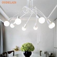 アメリカの錬鉄製のリビングルーム天井照明現代E27 天井ランプ装飾ホーム照明白黒ランプ