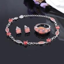 CiNily Fire Opal Jewelry Set Silver Plated Half Bracelets & Stud Earrings & Rings With Stone Orange Garnet Bohemia Boho Woman