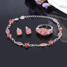 CiNily Fire joyas de ópalo juego enchapado en plata medio pulseras y pendientes de tuerca y anillos con piedra naranja granate bohemio Mujer