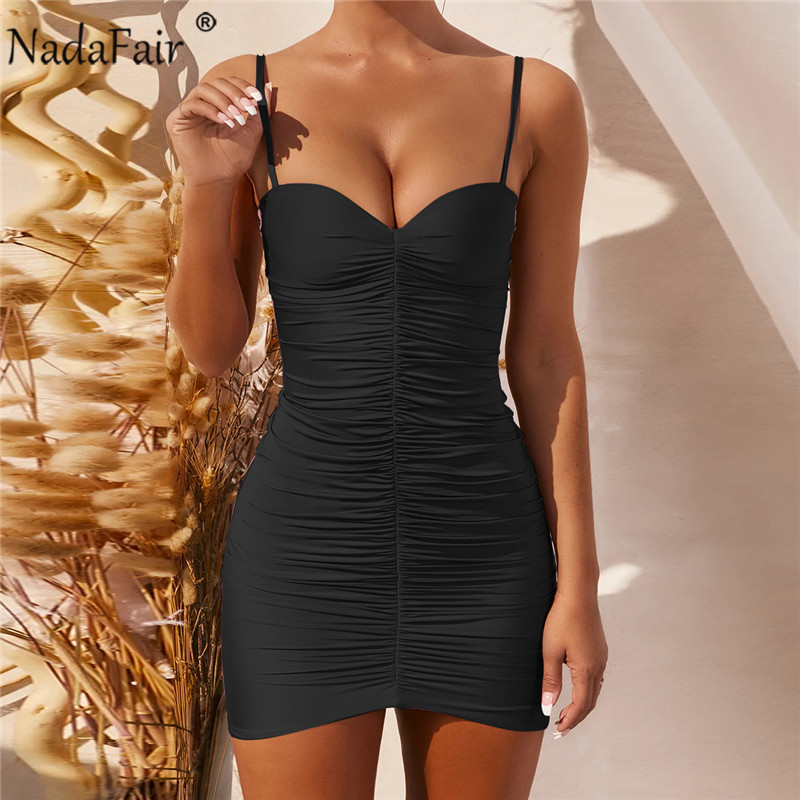 Nadafair Ruched Sleeveless Sexy Women's Dress Club Party Night Spaghetti Strap Backless Solid Mini Wrap Bodycon Summer Dress|Dresses| - AliExpress