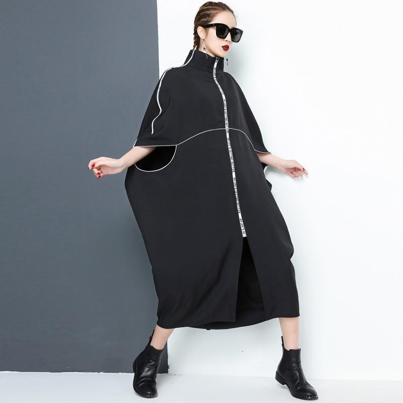 LANMREM 2020 New Spring Fashion Turtleneck Batwing Short Sleeves Letters Printed Zippers Loose Windbreaker Female Vestido WK1180