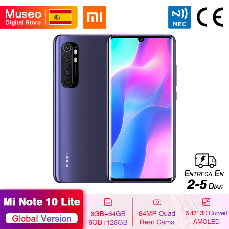 Global Version Xiaomi Mi Note 10 Lite Mobile Phone 64GB/128GB 64MP Quad Cams 6.47'' Curved AMOLED Screen 5260mAh 30W Fast Charge
