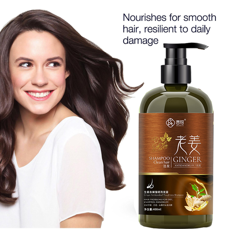 Ginger Hair Growth Shampoo Anti Dandruff Oil Control Nutrition Moisturizing Repair Damaged Hair Smooth Frizz Split Ends Dry  image
