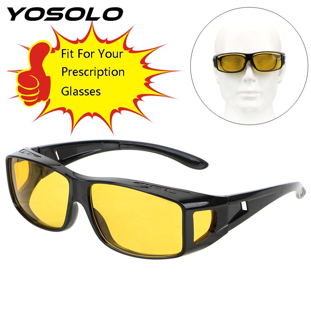 YOSOLO Fits Over Your Prescription Glasses Car Driving Glasses Driver Goggles Eyewear HD Night Vision Goggles Sunglasses