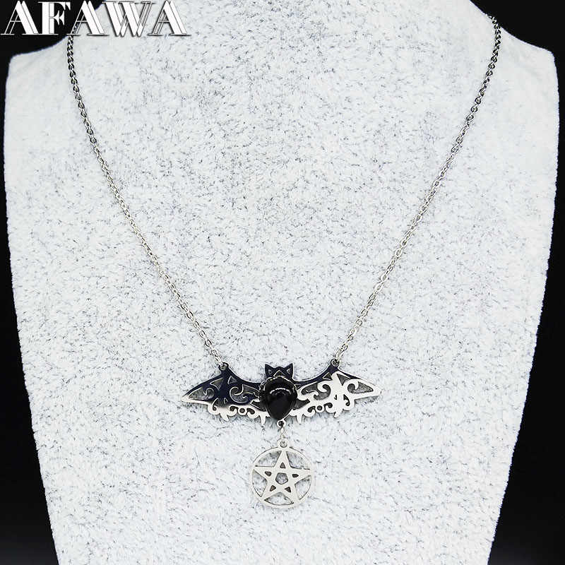 2020 Gothic Stainless Steel Bat Kalung untuk Wanita Sihir Pentagram Warna Perak Kalung Perhiasan Kerah Mujer N3060S01