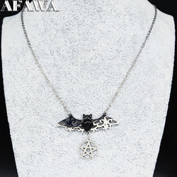 2021 Gothic StainlessSteel Bat Necklaces for Women Witchcraft Pentagram Silver Color Necklace Jewelry collar mujer N3060S01