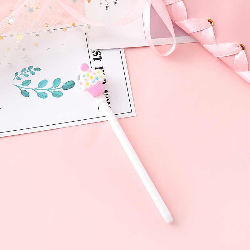 Śmieszne jedzenie długopisy żelowe słodkie lody lizak 0.5mm czarny atrament pióro neutralne szkoły pisania dostaw biurowe upominek promocyjny