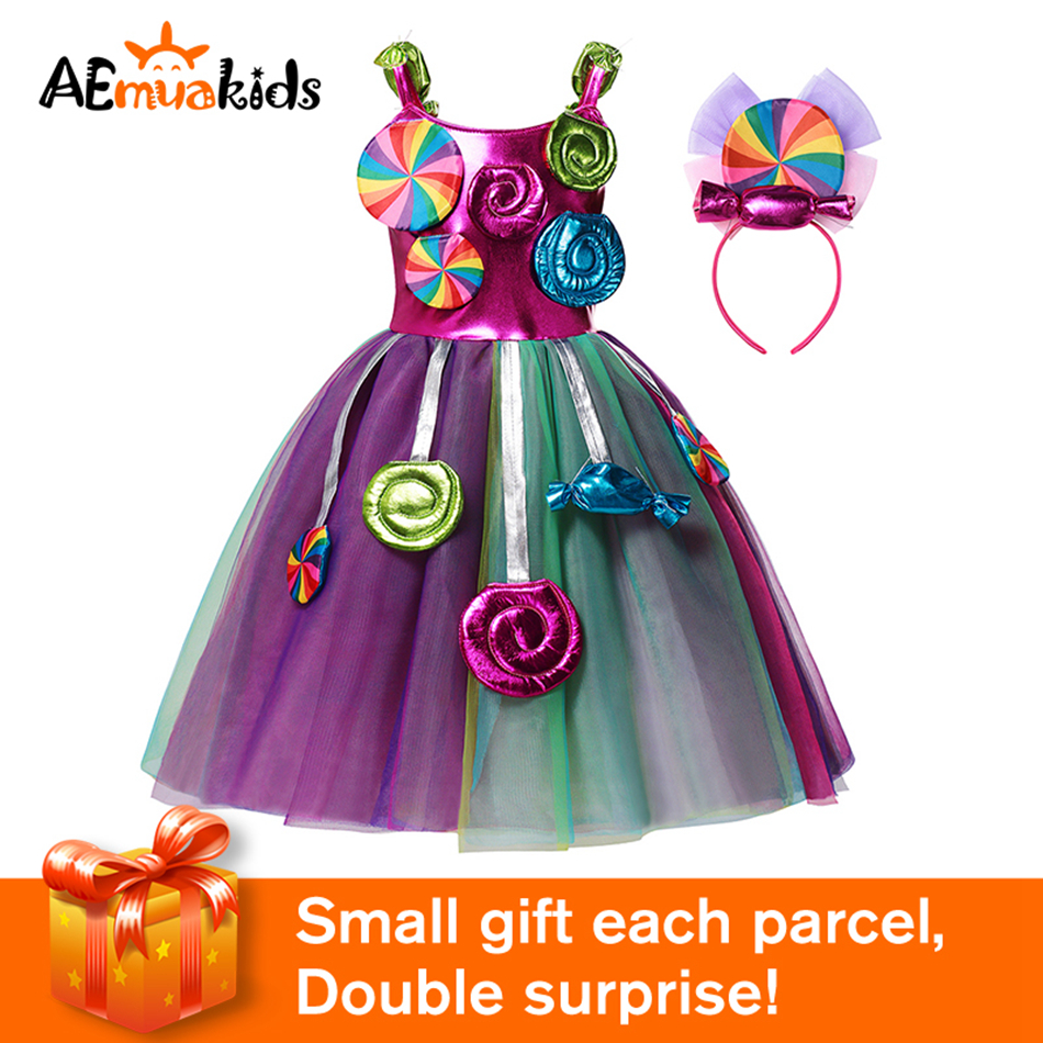 AEMUAKIDS Candy Color Tulle Dress for Girl Halloween Party Kids Cosplay Costume Little Girl Floral Casual Dresses 1