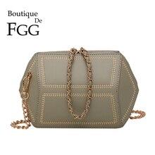 Purse Handbag Crossbody-Bag Small-Chains Faux-Leather Fashion Women Embroidery Boutique-De-Fgg