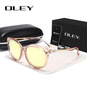 Image 1 - OLEY العلامة التجارية جولة النظارات الشمسية النساء الاستقطاب أزياء السيدات نظارات شمسية الإناث خمر ظلال Oculos دي سول Feminino UV400 Y7405