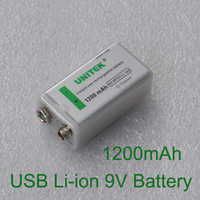 1PCS USB 9V Li-ion Rechargeable Battery 1200mAh 6F22 lithium ion cell for KTV microphone Guitar EQ smoke alarm multimeter