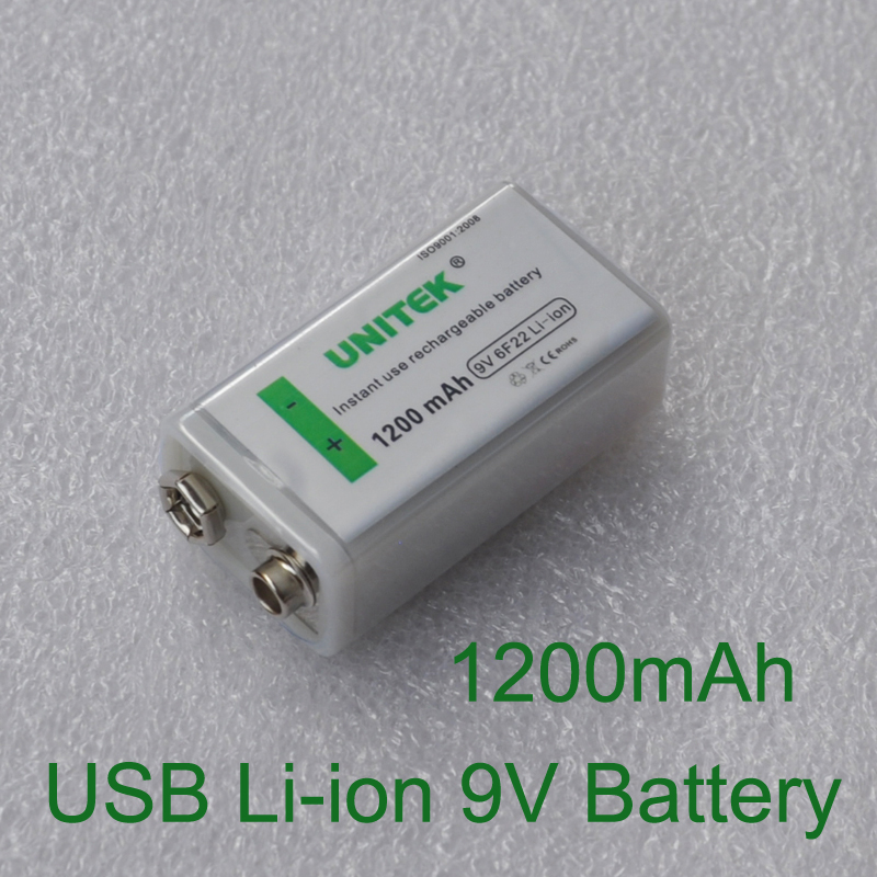 1PCS USB <font><b>9V</b></font> Li-ion Rechargeable Battery <font><b>1200mAh</b></font> 6F22 lithium ion cell for KTV microphone Guitar EQ smoke alarm multimeter image