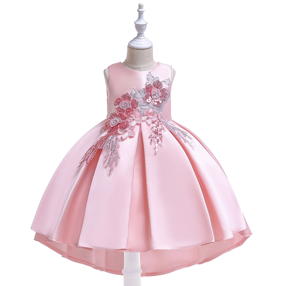 INS New Girls Tailing Formal Dress Twill Forging Sequin Embroidery Flower Princess Wedding Dress Red New Year Tuxedo