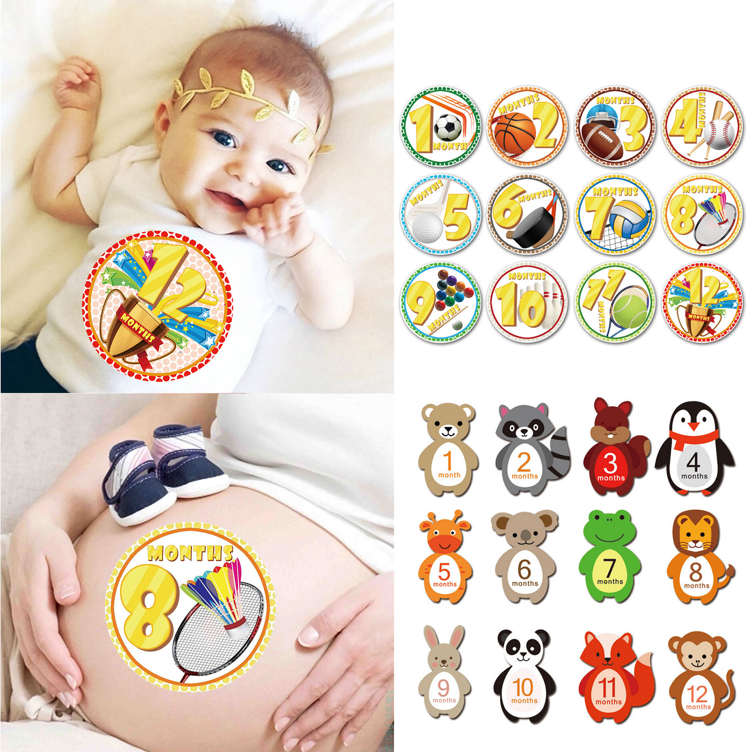 12PCS Baby Milestone Stickers Infants 1-12 Months Growth Record Photograph Monthly Stickers DIY Commemorative Photo Booth Props