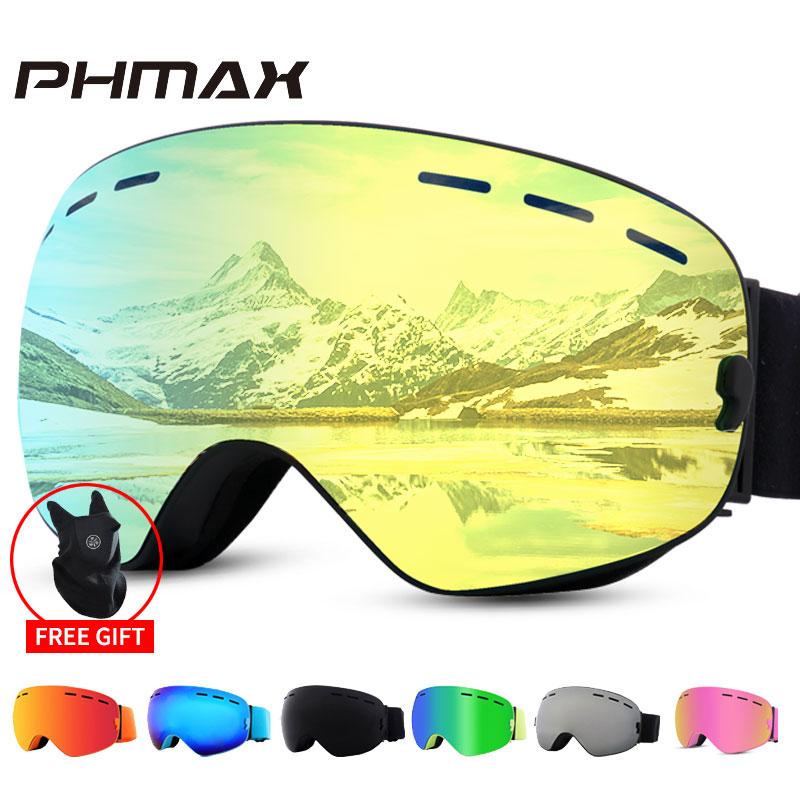 PHMAX Ski Goggles Winter Men Anti-Fog Snow Ski Glasses With Mask UV400 Double Layers Outdoor Snowboard Goggles Glasses For Women