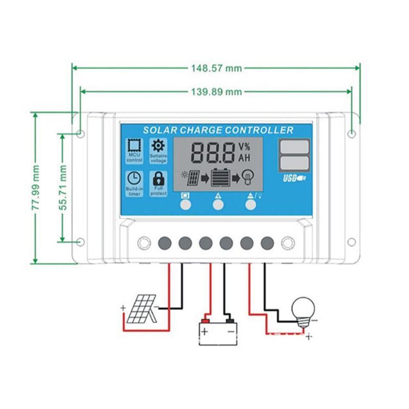 10A/20A/30A автомобильный Солнечный контроллер заряда PWM Контроллер ЖК-дисплей двойной USB 5 В выход солнечная панель PV регулятор