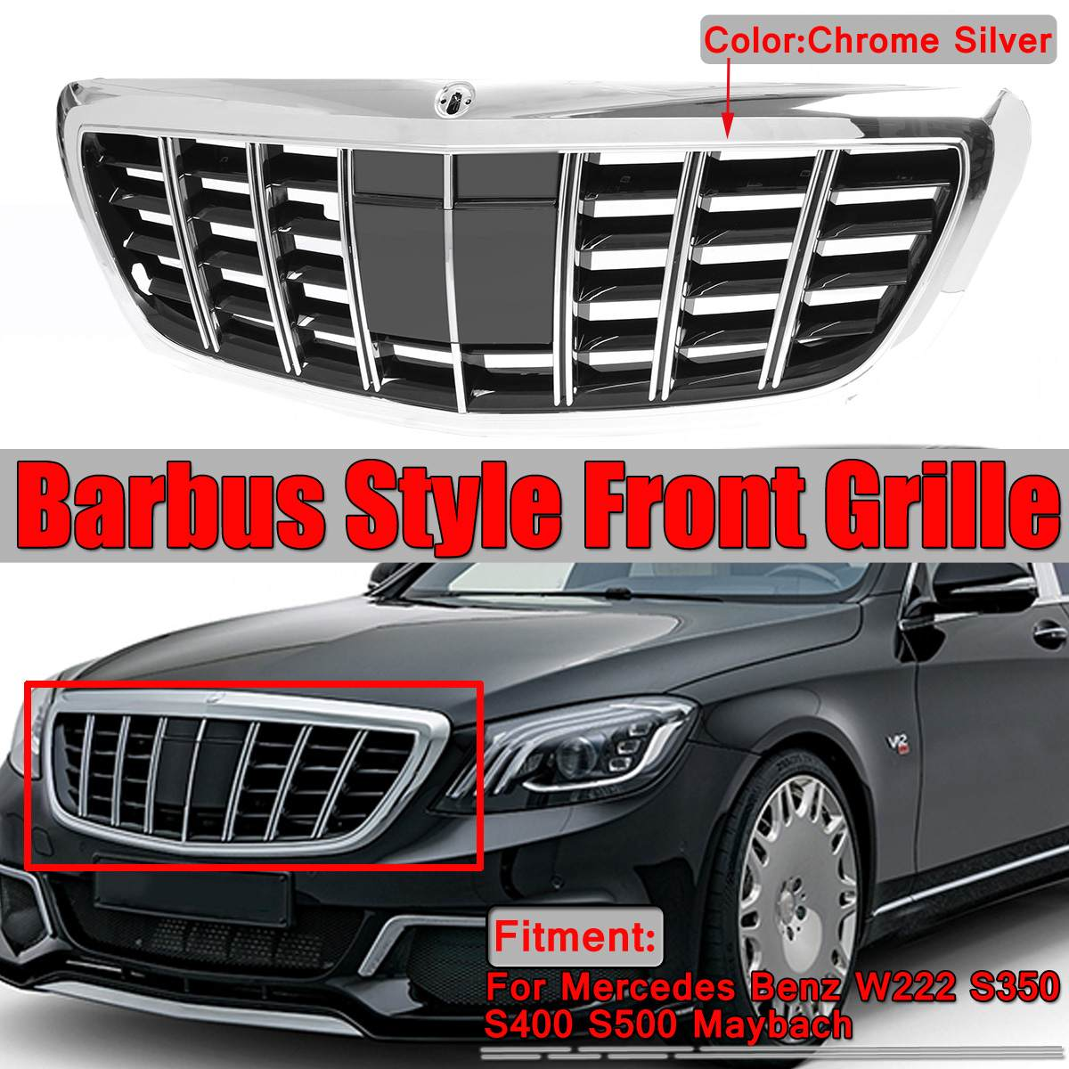 GTR GT R Style W222 For Maybach Grill Car Front Mesh Grill Grille For Mercedes For Benz W222 S350 S400 S500 For Maybach Barbus image