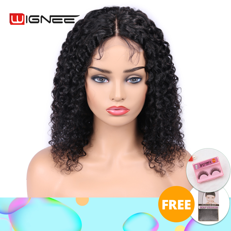 Wignee 4x4 Lace Closure Kinky Curly Human Hair Wigs With Baby Hair For Black Women Remy Hair Pre Plucked Hairline Lace Human Wig