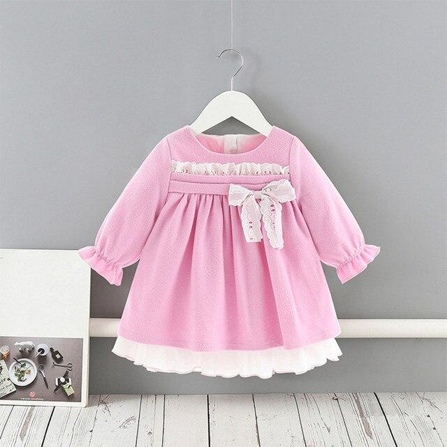תינוק בנות שמלות נסיכת בנות בגדי ילדי בגדים הסטודנטיאלי סגנון ילדים בגדי כדור שמלה עם קשת 1 5Y