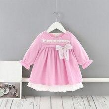 Vestidos Das Meninas do bebê Da Princesa Meninas Roupas Roupas Para Crianças Estilo Preppy Roupa Dos Miúdos vestido de Baile com Bow 1 5Y
