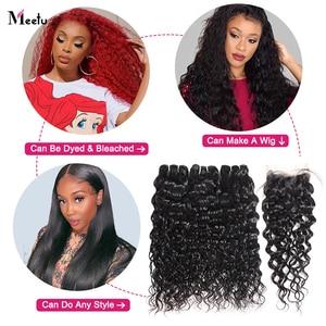Image 3 - Meetu Water Wave Bundles With Closure Transparent Lace Closure With Bundles Brazilian Hair Weave Bundles With Closure Non Remy