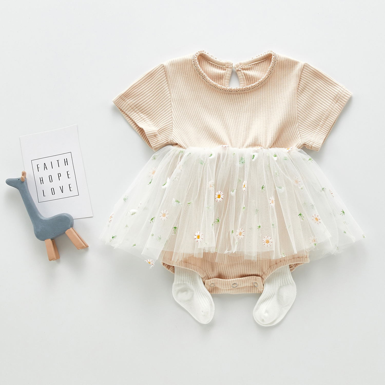 3461 Baby Girl's Clothes For Summer Short Sleeve Elegant Skirt With Fart Small Flower Mesh Skirt Rompers