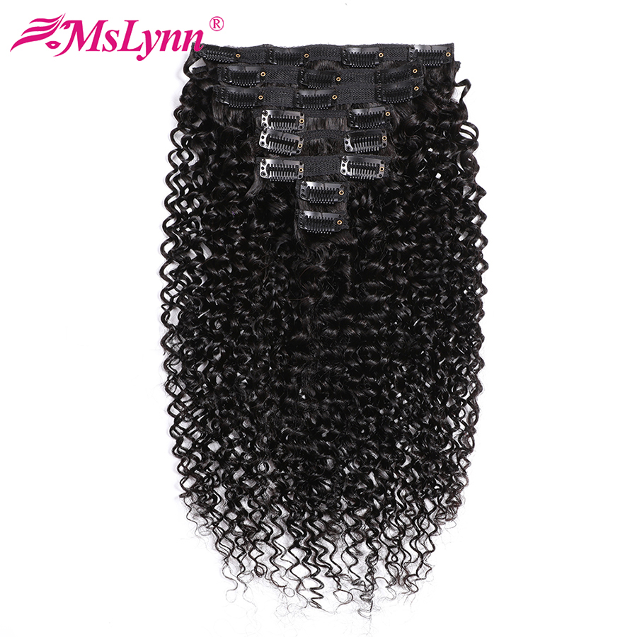 Kinky Curly Bundles Peruvian Hair Bundles Clip In Human Hair Extensions 8 Pieces/Set 120Gram Mslynn Remy Hair Bundles
